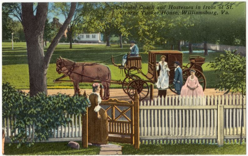 Colonial Coach and hostesses in front of St. George Tucker House, Williamsburg, Va.