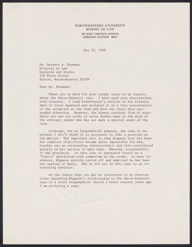 Herbert Brutus Ehrmann Papers, 1906-1970. Sacco-Vanzetti. Wigmore-Frankfurter controversy. Box 15, Folder 7, Harvard Law School Library, Historical & Special Collections