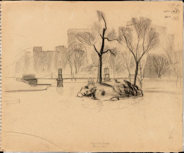 Sketch of Boston Public Garden Lagoon and island
