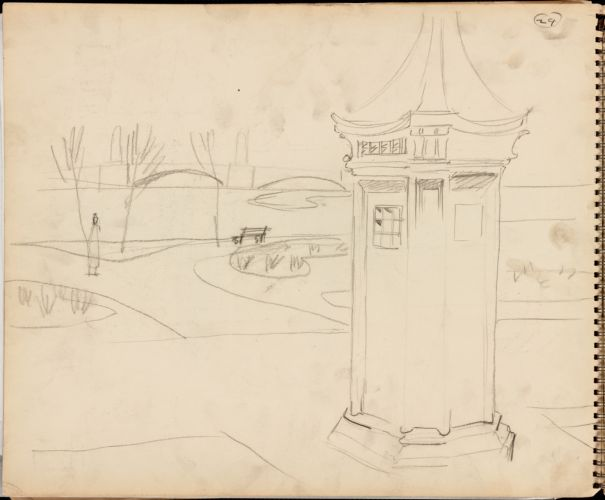 Sketch of Boston Public Garden, police call box in foreground