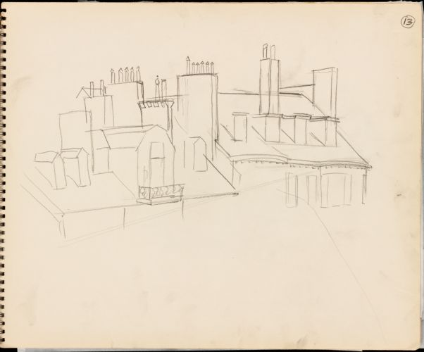 Sketch of roofs of buildings