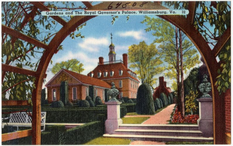 Gardens and The Royal Governor's Palace, Williamsburg, Va.