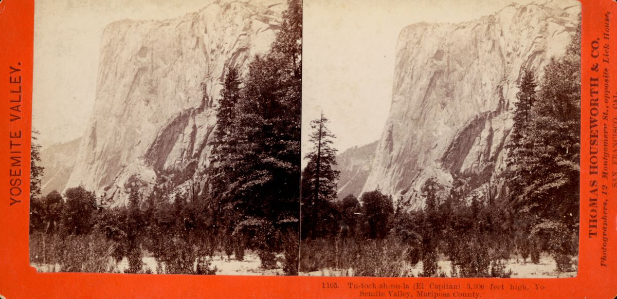 A stereograph image from between 1850-1920 of Tu-Tok-A-Nu-La (renamed El Capitan).The name comes from a Miwok creation story, which you can read here.