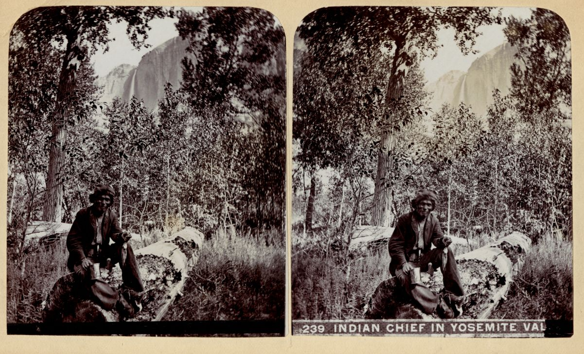 """This stereograph image shows an """"Indian chief in Yosemite Valley"""" in the late 1880s, before the area was an official national park. The Miwok and Paiute people known as the Ahwahneechee are indigenous to the Yosemite Valley."""