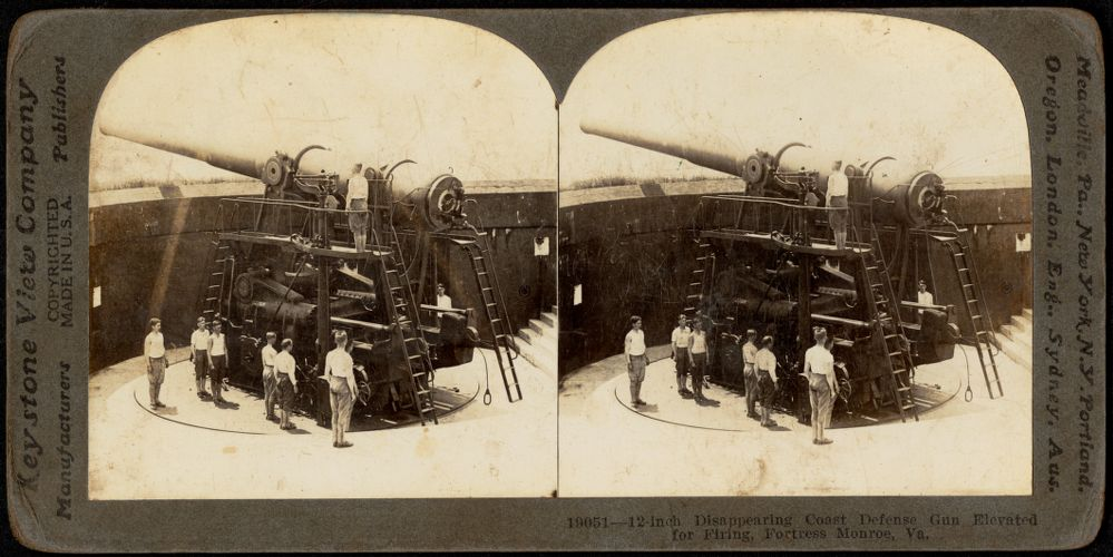 12-inch disappearing coast defense gun elevated for firing, Fortress Monroe, Va.