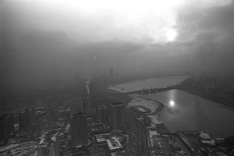Air pollution over Charles River Basin aerial view, downtown Boston