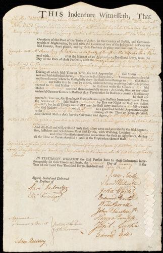 Document of indenture: Servant: Champlen, Benony Harris. Master: Long, Aaron. Town of Master: Shelburne