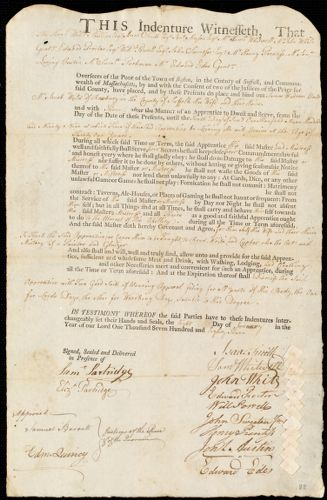 Document of indenture: Servant: Warren, James. Master: Weld, Jacob. Town of Master: Roxbury