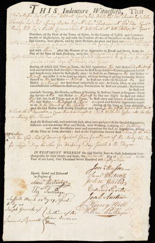 Document of indenture: Servant: Willit, John. Master: Munson, Samuel Dickerman. Town of Master: Truro