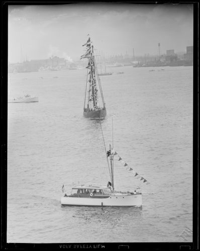 """The """"Gertrude L. Thebaud"""" decked out in flags, Boston Harbor, East Boston waterfront"""