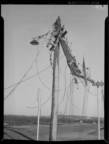 Wrecked house/power line