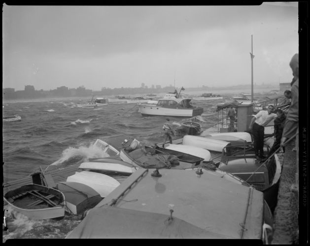 Hurricane Carol rocks boats on Charles River