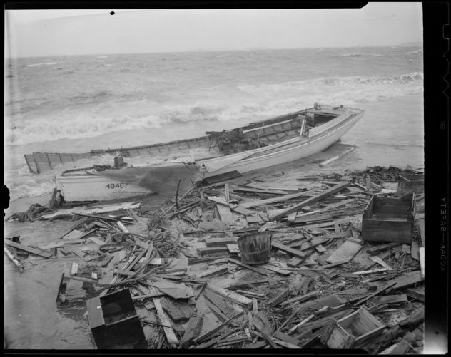 Boats washed ashore near Boston