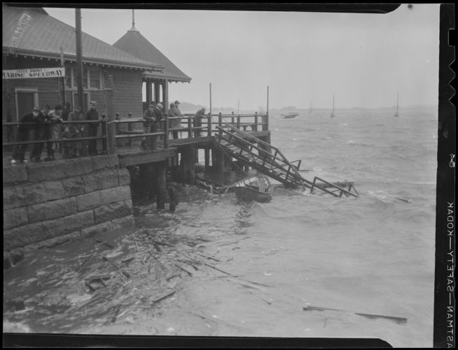 Dock at City Point damaged by storm