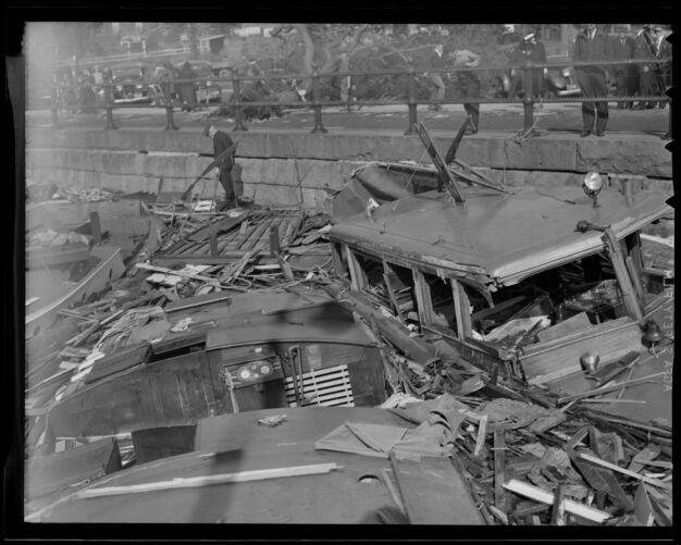 Boats beaten apart against sea wall, Hurricane of 38