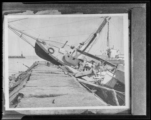 Boat on breakwater in Block Island, Hurricane of 38