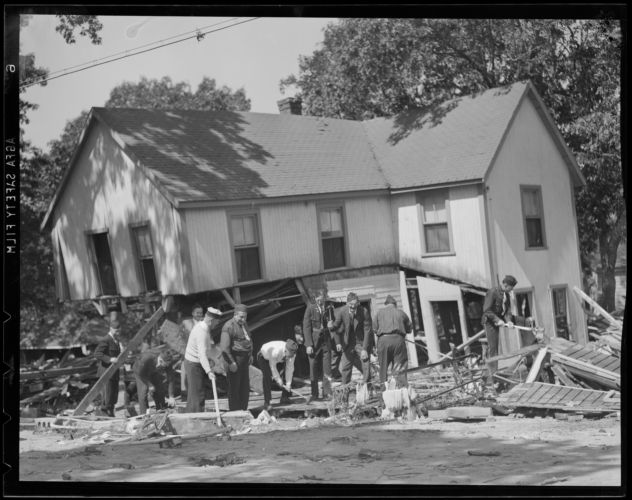 Working on demolished house, Hurricane of 38