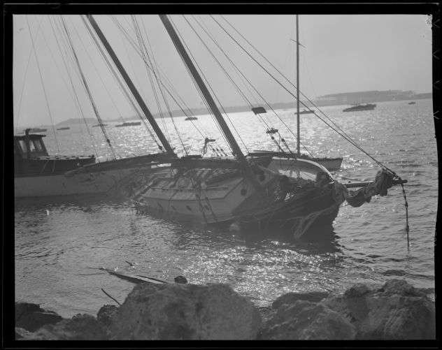 Boats pushed into shore, Hurricane of 38