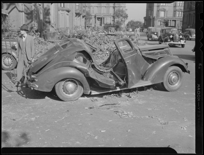 Car crushed by tree, Hurricane of 38