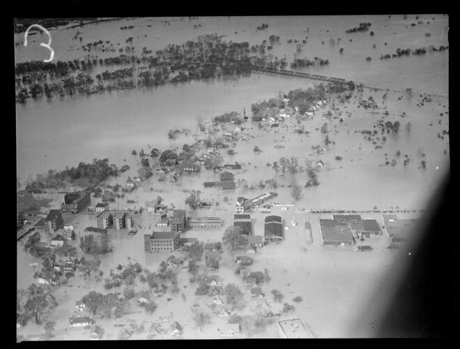 Aerial photos of flooding, Hurricane of 38