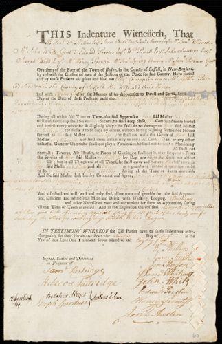 Document of indenture: Servant: Champlen, Elizabeth. Master: Pain, Nathaniel. Town of Master: Boston