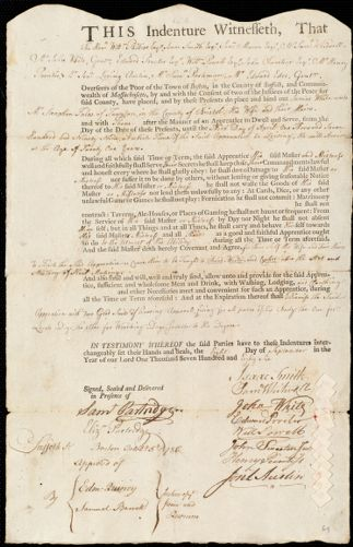 Document of indenture: Servant: White, James. Master: Fales, Stephen. Town of Master: Taunton