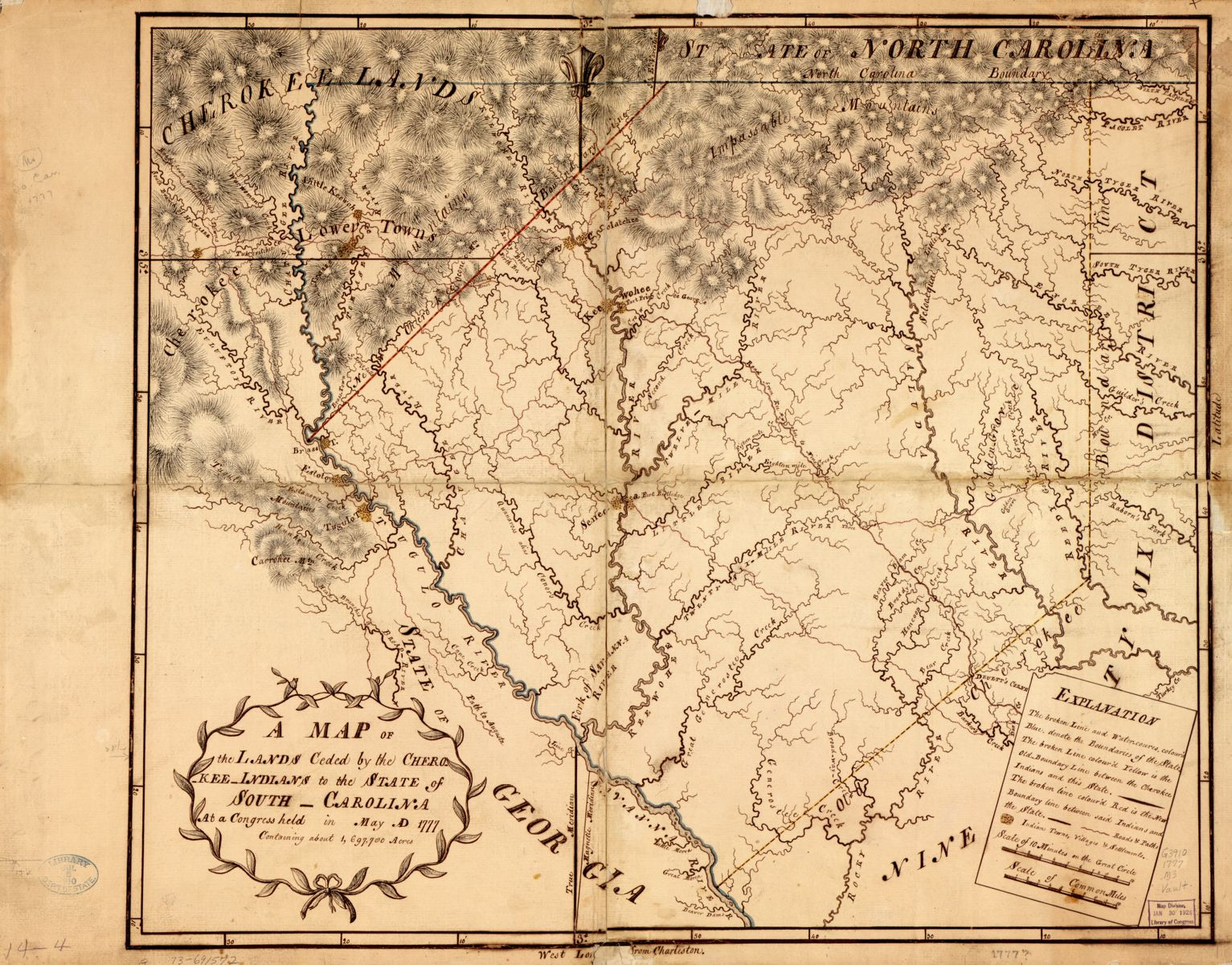 A Map of the lands ceded by the Cherokee Indians to the State of South-Carolina (1777)