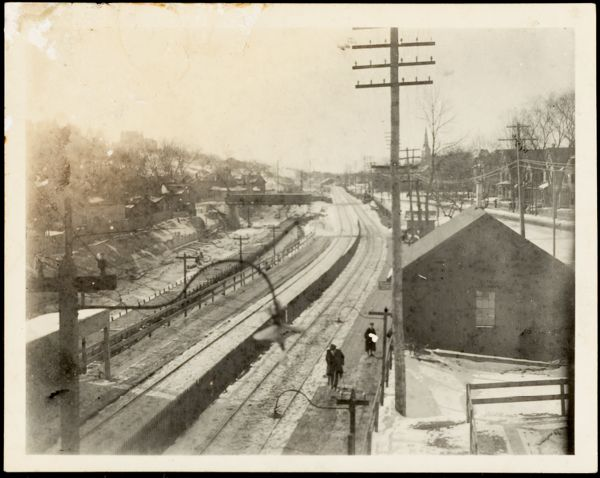 Newton Photographs Collection : Newton Corner, Nonantum Square and Centre Street, 1893-1898. - Loveland Photographs - Railroad Station at Centre Street in 1893 -