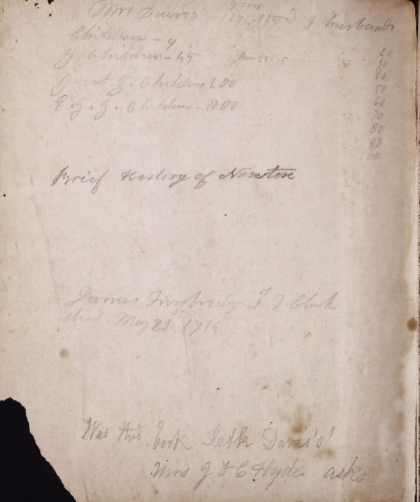 Handwritten notebook belonging to Seth Davis -