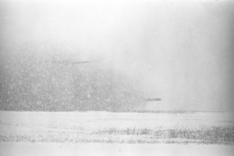 An airliner lands in a snowstorm at Logan Airport, East Boston