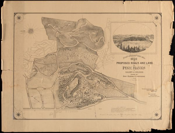 Topographical map of proposed roads and land at Pine Banks in Malden and Melrose, owned by Hon Elisha S. Converse
