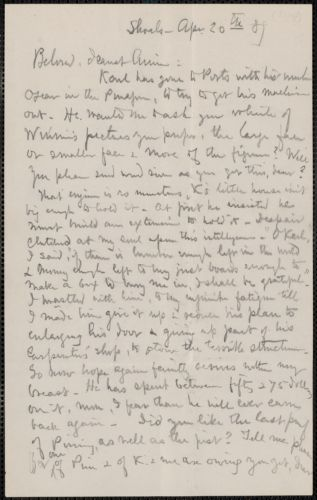 Celia Thaxter incomplete autograph letter to Annie Fields, Shoals, [N.H.], 20 April [18]89