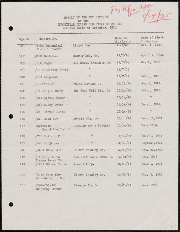 1934-1935 report of the Toy Division, Industrial Design Registration Bureau