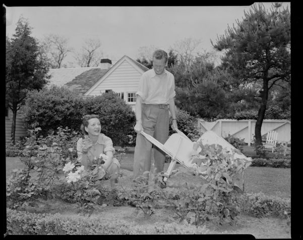 Gertrude Lawrence at East Dennis home with Richard S. Aldrich
