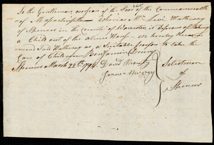 Document of indenture: Servant: Washington, George. Master: Hathway, Levi. Town of Master: Spencer. Selectmen of the town of Spencer autograph document signed to the Oversers of the Poor of the Commonwealth of Massachusetts: Endorsement Ceritifcate for Levi Hathway.