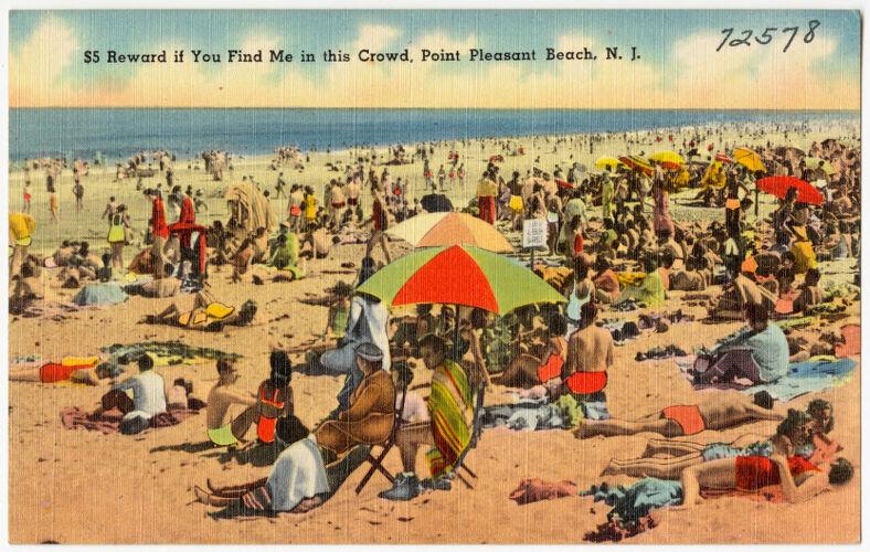 $5 reward if you find me in this crowd, Point Pleasant Beach, N. J.