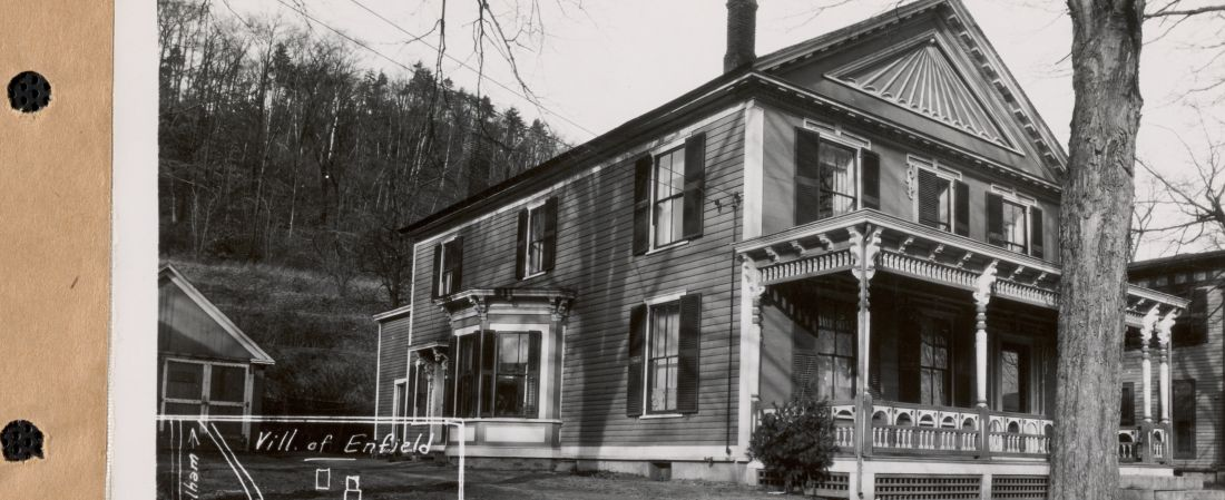 Harriet E. Hess, house and garage (on common), Enfield, Mass., Jan. 14, 1928