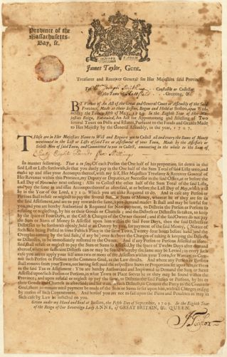 Tax assessment notice to Constable Joseph Smith, Hatfield, from James Taylor, Gent., Treasurer and Receiver General for Her Majestie Queen Anne, 1709
