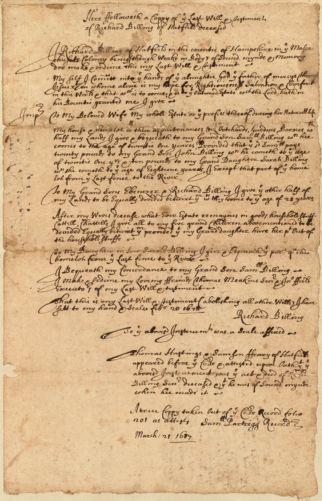 Last will and testament of Richard Billing, March 21, 1684