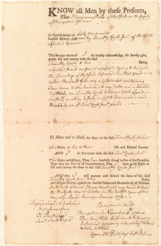 Deed, Benjamin Wells to Timothy Cowls Jr., 1771