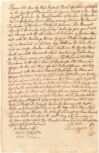 Deed, Asa White to Daniel Dickinson, 1781