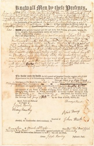 Deed, Ebenezer Hunt, John Hunt, and Josiah Pomeroy, a committee of the town of Hatfield, to Timothy Cowls, 1761