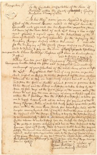 Authorization to collect taxes, from Hatfield assessors to the Hatfield constable, 1736/7