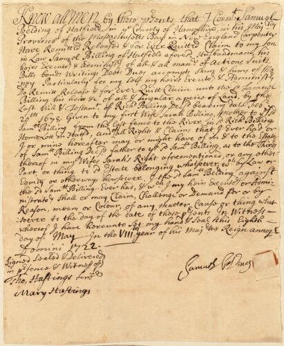 Deed, Samuel Belding to Samuel Billing, 1722