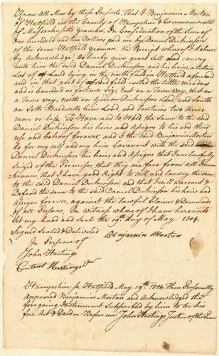 Deed, Benjamin Morton to Daniel Dickinson, 1804
