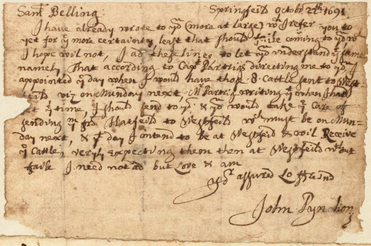 Letter to Sam Belling from John Pynchon in Springfield, Oct. 22, 1691