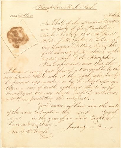 10 shares Hampshire Bank Stock, $1,000, to Daniel White, April 6, 1818, signed by Joseph Lyman, president