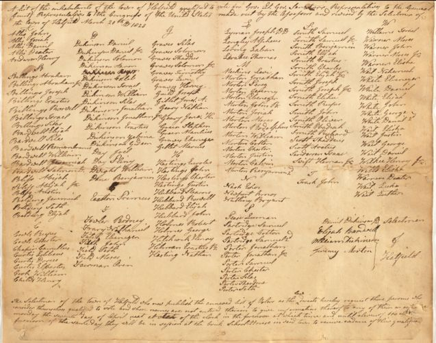 List of approved Hatfield voters, 20 March 1823