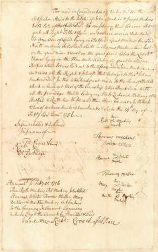 Quitclaim [?] from the heirs of John and Joseph Meekins, Hatfield, to Zechariah Billing and wife Ruth, 24 February 1756