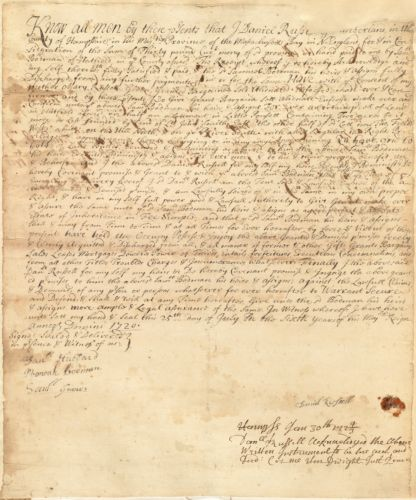 Deed, Daniel Russell, w/consent of mother Mary, to Samuel Bobman, Hatfield, 25 July 1720